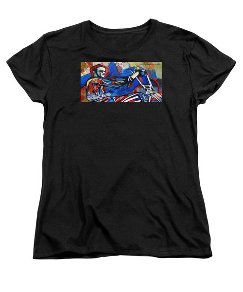 Women's T-Shirt (Standard Cut) featuring the painting Easy Rider Captain America by Eric Dee