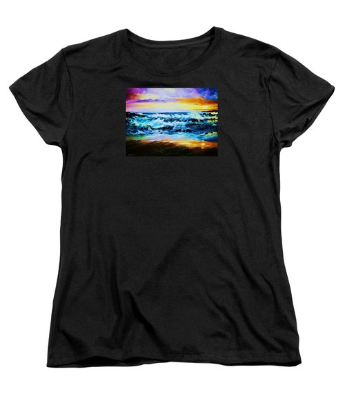 Women's T-Shirt (Standard Cut) featuring the painting Ebb Tide At Sunset by Al Brown
