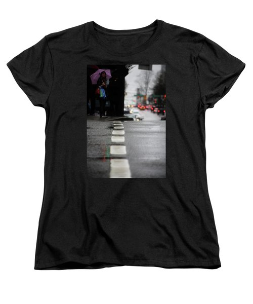 Women's T-Shirt (Standard Cut) featuring the photograph Echoes In The Rain Drops  by Empty Wall
