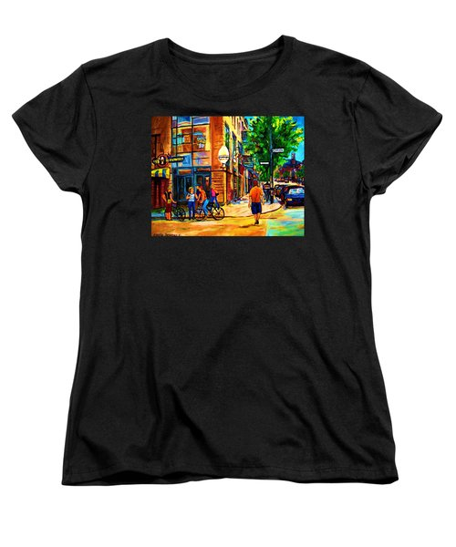 Women's T-Shirt (Standard Cut) featuring the painting Eggspectation Cafe On Esplanade by Carole Spandau