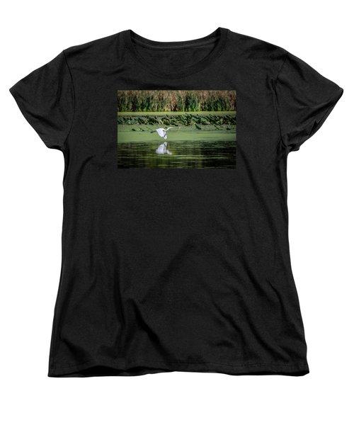 Egret Over Wetland Women's T-Shirt (Standard Cut) by Ray Congrove