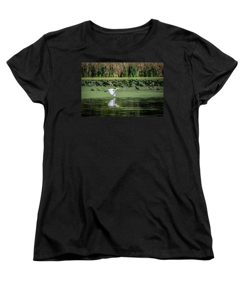 Egret Over Wetland Women's T-Shirt (Standard Cut)