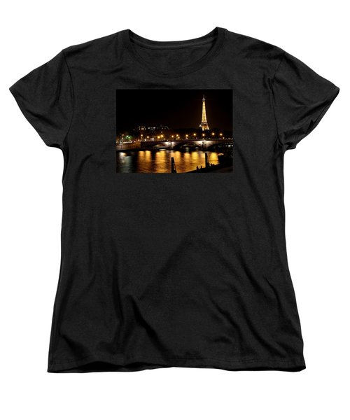 Women's T-Shirt (Standard Cut) featuring the photograph Eiffel Tower At Night 1 by Andrew Fare