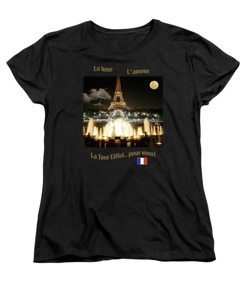 Eiffel Tower At Night Women's T-Shirt (Standard Cut) by Jon Delorme