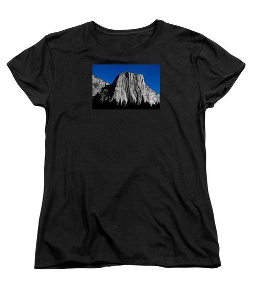 El Capitan Under A Full Moon Women's T-Shirt (Standard Cut) by Rick Furmanek