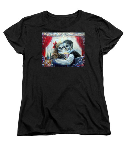 Women's T-Shirt (Standard Cut) featuring the painting El Cine by Heather Calderon