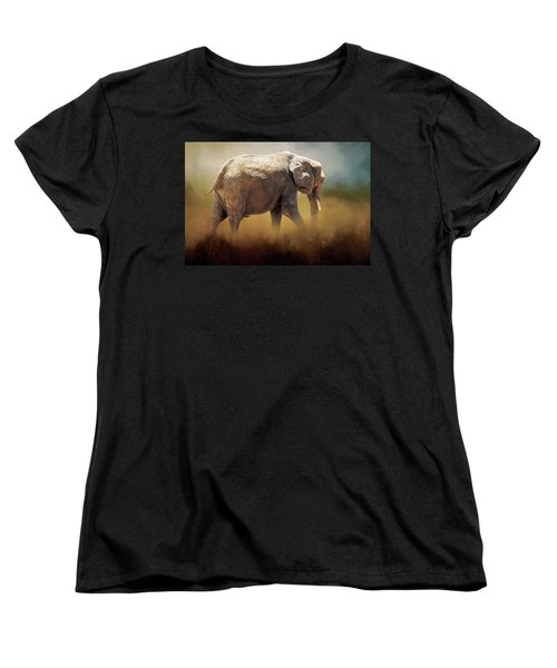 Women's T-Shirt (Standard Cut) featuring the photograph Elephant In The Mist by David and Carol Kelly