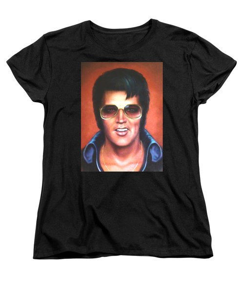 Women's T-Shirt (Standard Cut) featuring the painting Elvis Presley by Loxi Sibley