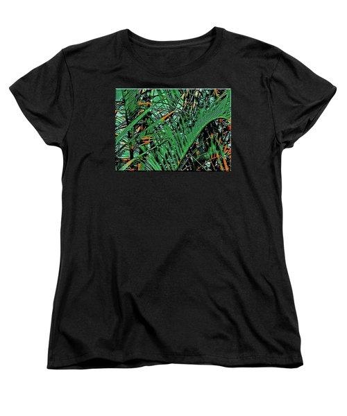 Women's T-Shirt (Standard Cut) featuring the digital art Emerald Palms by Mindy Newman
