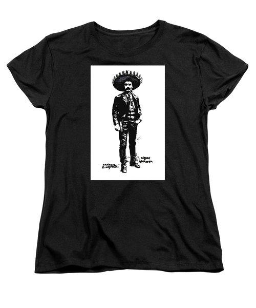 Women's T-Shirt (Standard Cut) featuring the drawing Emiliano Zapata by Antonio Romero
