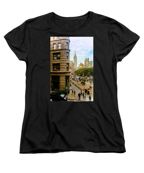 Women's T-Shirt (Standard Cut) featuring the photograph Empire State Building - Crackled View by Madeline Ellis