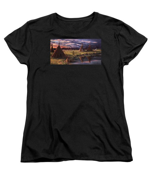 Women's T-Shirt (Standard Cut) featuring the painting Encampment At Dusk by Nancy Griswold
