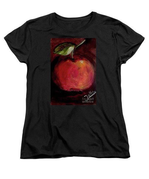 Women's T-Shirt (Standard Cut) featuring the painting Eve's Apple.. by Jolanta Anna Karolska