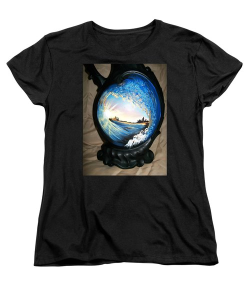 Women's T-Shirt (Standard Cut) featuring the painting Eye Of The Wave 1 by Sharon Duguay