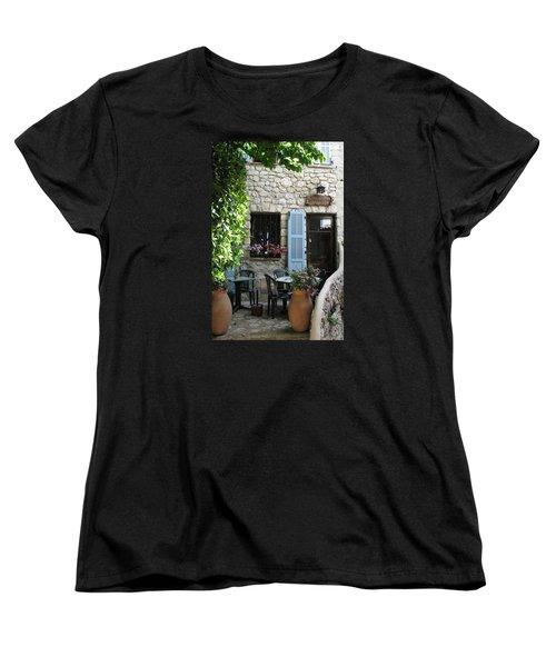Eze Cobblestone Patio Women's T-Shirt (Standard Cut) by Carla Parris