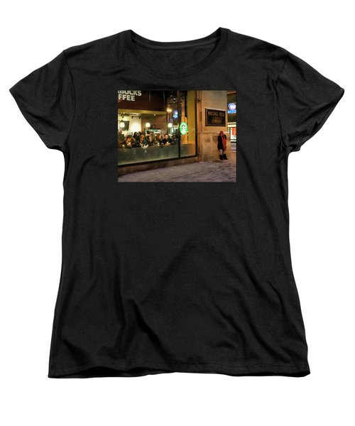 Women's T-Shirt (Standard Cut) featuring the digital art Faces At The Coffeehouse by Chris Flees