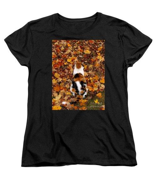 Fall Catitude  Women's T-Shirt (Standard Cut) by Christy Ricafrente