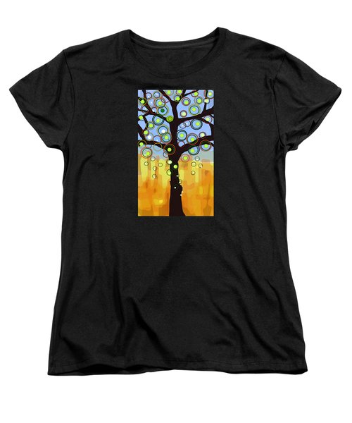 Women's T-Shirt (Standard Cut) featuring the painting Fall Circles by Patricia Arroyo