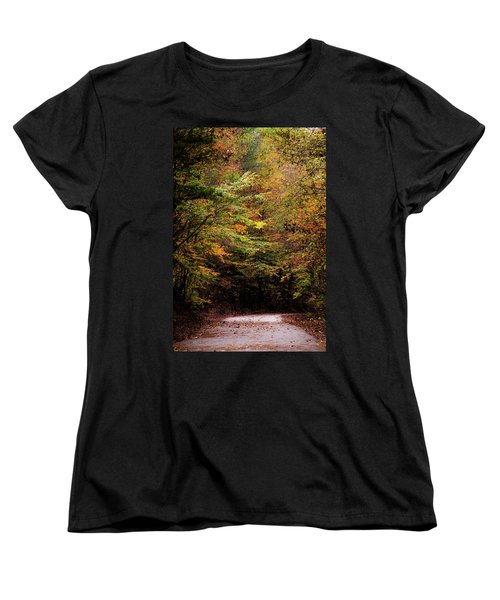 Women's T-Shirt (Standard Cut) featuring the photograph Fall Colors On The Trail by Shelby Young