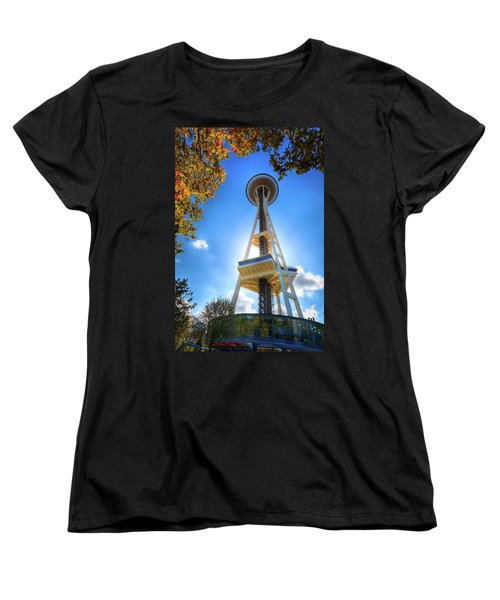 Fall Day At The Space Needle Women's T-Shirt (Standard Cut) by David Patterson