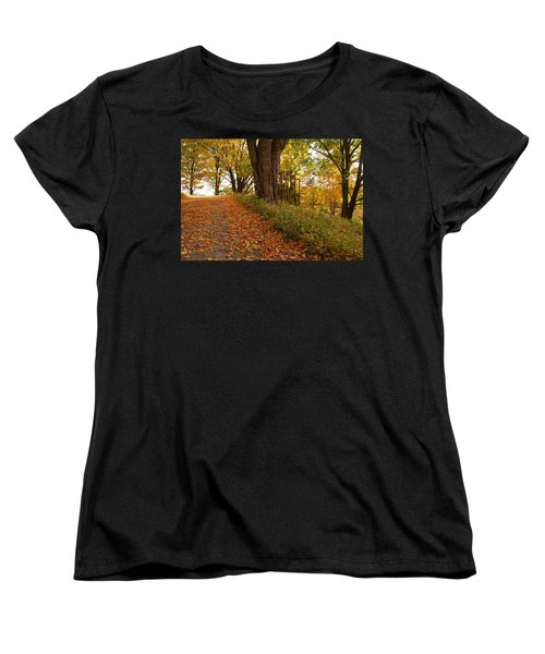 Women's T-Shirt (Standard Cut) featuring the photograph Fall Driveway by Lois Lepisto