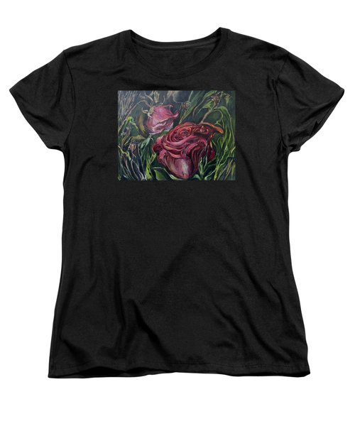 Women's T-Shirt (Standard Cut) featuring the painting Fall Roses by Nadine Dennis