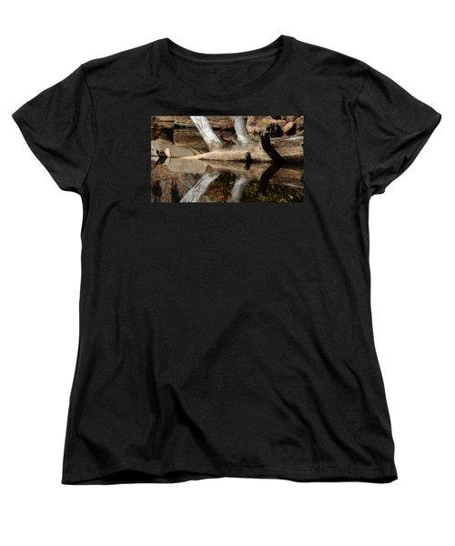 Women's T-Shirt (Standard Cut) featuring the photograph Fallen Tree Mirror Image by Debbie Oppermann