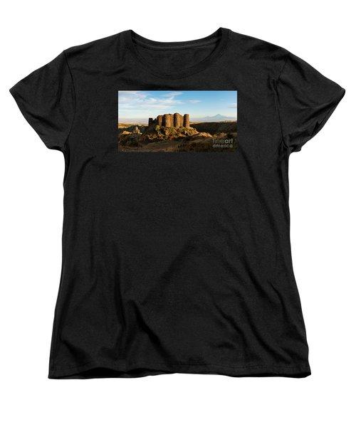 Famous Amberd Fortress With Mount Ararat At Back, Armenia Women's T-Shirt (Standard Cut) by Gurgen Bakhshetsyan