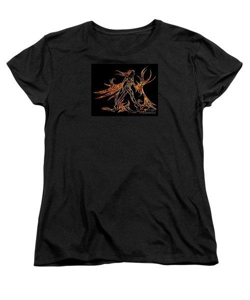 Women's T-Shirt (Standard Cut) featuring the drawing Fancy Flight On Fire by Jamie Lynn