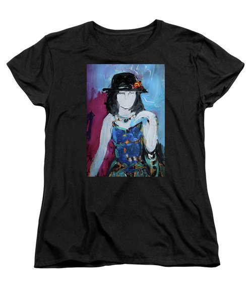 Fashion Woman With Vintage Hat And Blue Dress Women's T-Shirt (Standard Cut) by Amara Dacer