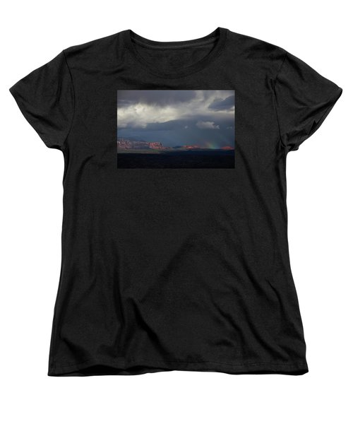 Women's T-Shirt (Standard Cut) featuring the photograph Fat Ground Rainbow, Red Rocks Sedona by Ron Chilston