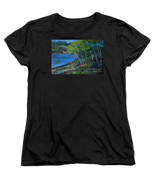 Women's T-Shirt (Standard Cut) featuring the painting Favorite Fishin' Hole by Leslie Allen