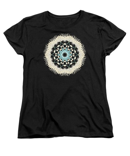 Feathers And Catkins Kaleidoscope Design Women's T-Shirt (Standard Cut) by Mary Machare
