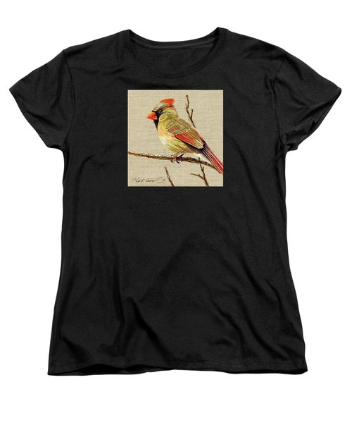 Women's T-Shirt (Standard Cut) featuring the painting Female Cardinal by Bob Coonts