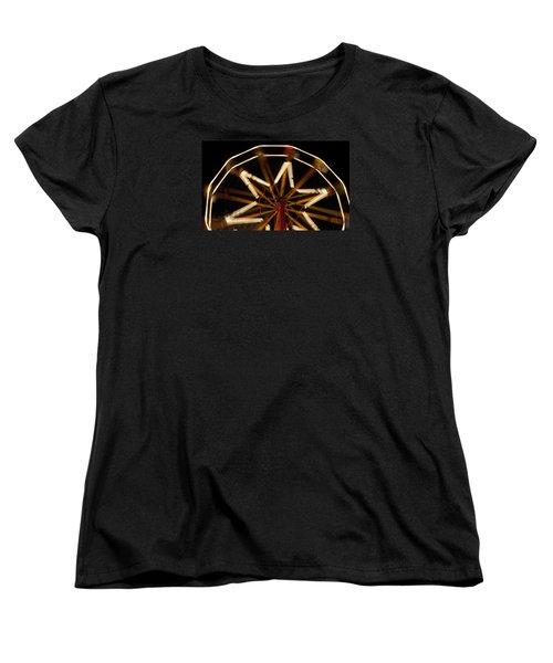 Ferris Wheel At Night Women's T-Shirt (Standard Cut) by Helen Northcott