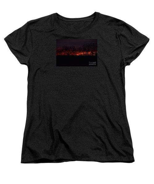 Women's T-Shirt (Standard Cut) featuring the photograph Fiery Kansas Sky by Mark McReynolds
