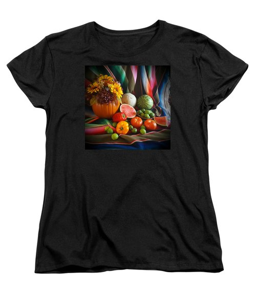 Women's T-Shirt (Standard Cut) featuring the painting Fiesta Fall Harvest by Marilyn Smith