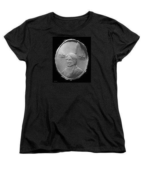 Women's T-Shirt (Standard Cut) featuring the relief Fingernail Relief Drawing Of American Indian  by Suhas Tavkar