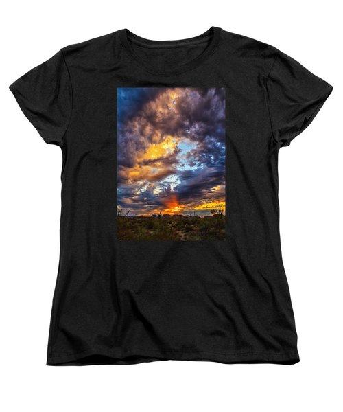 Finger Painted Sunset Women's T-Shirt (Standard Cut) by Rick Furmanek