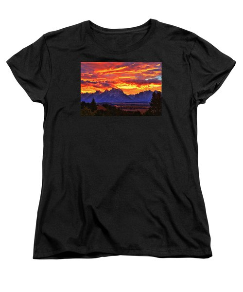 Fire In The Teton Sky Women's T-Shirt (Standard Cut) by Greg Norrell