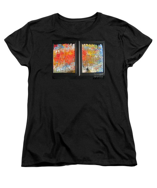 Women's T-Shirt (Standard Cut) featuring the painting Fire On The Prairie by Jacqueline Athmann