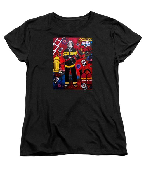 Firefighter Women's T-Shirt (Standard Cut) by Pristine Cartera Turkus