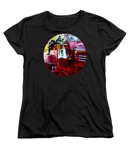Fireman - Bell On Fire Engine Women's T-Shirt (Standard Cut) by Susan Savad