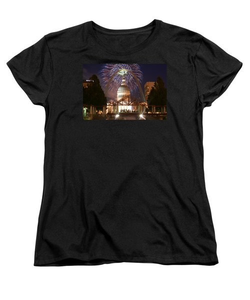 Fireworks At The Arch 1 Women's T-Shirt (Standard Cut) by Marty Koch