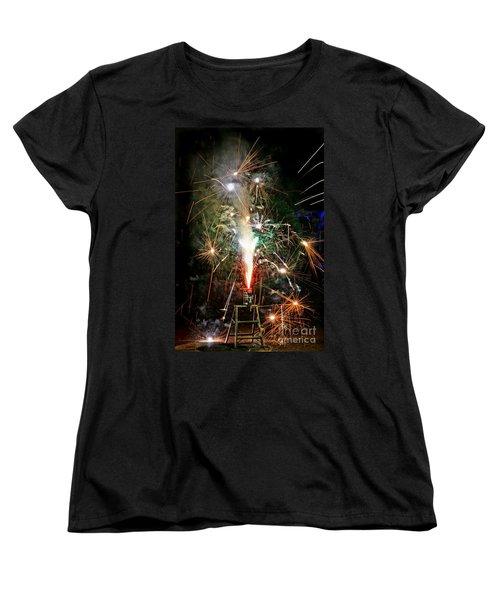 Women's T-Shirt (Standard Cut) featuring the photograph Fireworks by Vivian Krug Cotton