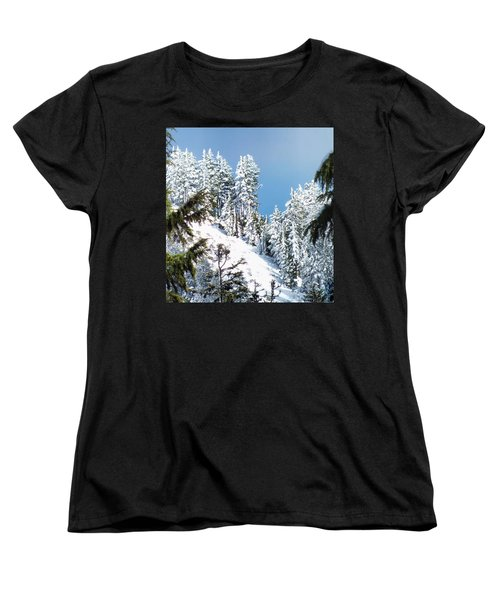 Women's T-Shirt (Standard Cut) featuring the photograph First November Snowfall by Wendy McKennon
