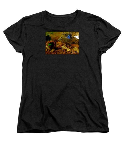Women's T-Shirt (Standard Cut) featuring the photograph Fish Tank Abstract by Cassandra Buckley