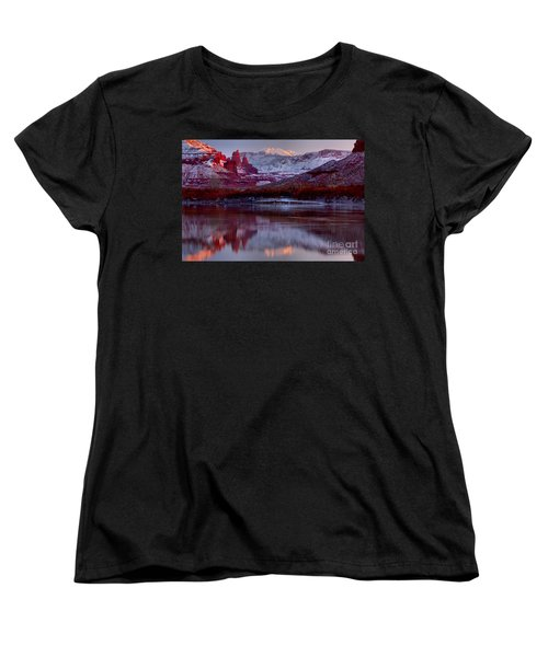 Women's T-Shirt (Standard Cut) featuring the photograph Fisher Towers Landscape Glow by Adam Jewell