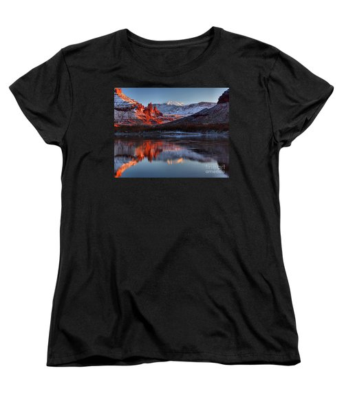 Women's T-Shirt (Standard Cut) featuring the photograph Fisher Towers Sunset On The Colorado by Adam Jewell