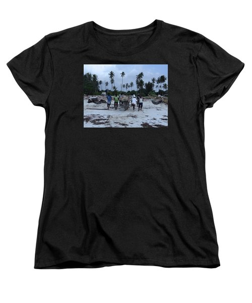 Fisherman Heading In From Their Days Catch At Sea With A Wooden Dhow Women's T-Shirt (Standard Fit)